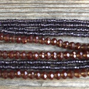 Jewelry - Multi-strand purple glass & faceted bead necklace